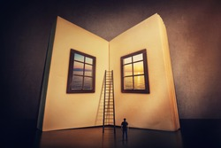 The magic, giant open book with two windows leading to another mystic world. Tiny man look at the textbook blank sheets ready to write his own story on the empty pages. Education and wisdom concept.
