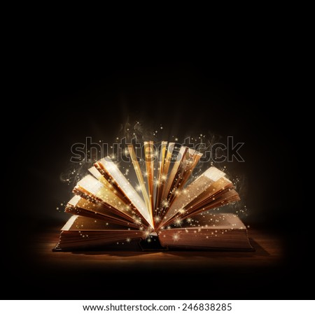 The magic of reading, storytelling and education or bible and religion, Black background space above for text message or copy.