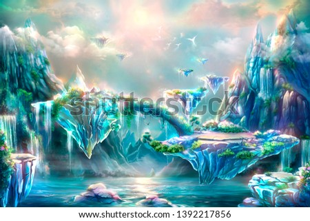 The magical islands. Fantastic fairy tale background, digital art. Illustration of a mountain dawn landscape with waterfalls, birds and flying islands
