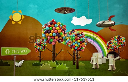 the magical world along the recycle way - stock photo