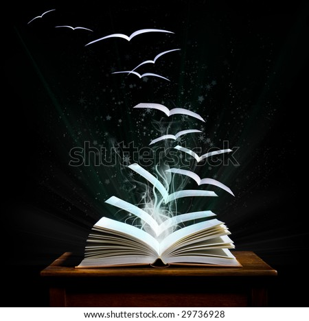 stock photo : The magical world of reading: magic book with pages transforming into birds