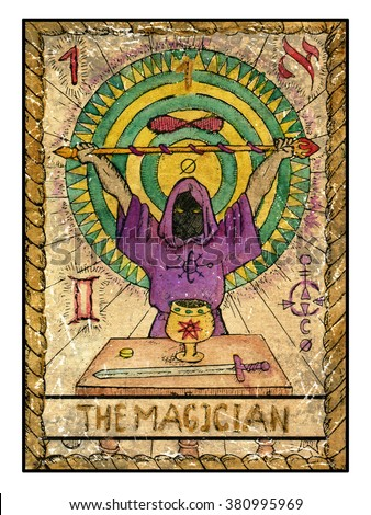Stock Photo The magician. Full colorful deck, major arcana. The old tarot card, vintage hand drawn engraved illustration with mystic symbols. Man wearing mantle and holding magic wand. Sword, cup and coin