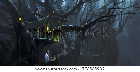 The magician walks between the magical tree houses, digital painting.