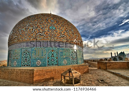 The magnificence of spirituality in the mirror of the old architecture.  Sheikh Lotfollah Mosque, the architectural masterpieces of Iranian architecture,Naghshe Jahan Square, Esfahan, Iran.