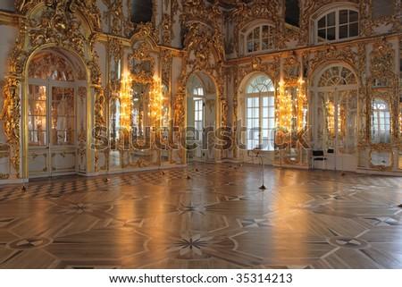 The magnificent ballroom inside the Catherine's Palace, Tsarskoye Selo (Pushkin), St. Petersburg, Russia.
