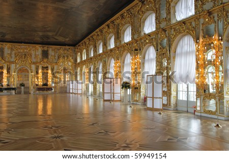 The magnificent ballroom inside the Catherine's Palace, Tsarskoye Selo (Pushkin), St. Petersburg, Russia. - stock photo