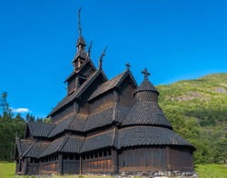 The magnificent Borgund Stave Church, Laerdal, Vestland, Norway. Built around 1200 AD with wooden boards on a basilica plan.