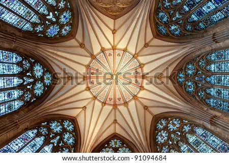 The magnificent Chapter House ceiling (completed 1186 AD) at York Minster #91094684