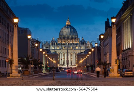 The magnificent evening view of St. Peter's Basilica in Rome by the Via della Conciliazione