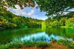 The magnificent lake in the deep forest. The lake in the middle of lush trees. A magnificent landscapes of Turkey. Borcka karagol karadeniz, Artvin, Turkey.