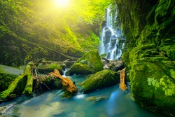 The magnificent waterfall view hidden in the deep forest. spectacular waterfall view and cool waters flowing over mossy stones in the wonderful natural scenery. Dagpinar blue waterfalls, Bursa, Turkey