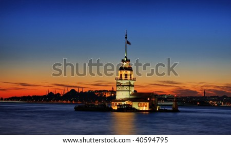 The Maiden's Tower in Istanbul. - stock photo
