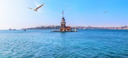 The Maiden's Tower, Istanbul, beautiful sea panorama