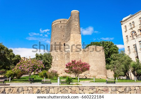 The Maiden Tower also known as Giz Galasi, located in the Old City in Baku, Azerbaijan. Maiden Tower was built in the 12th century as part of the walled city.