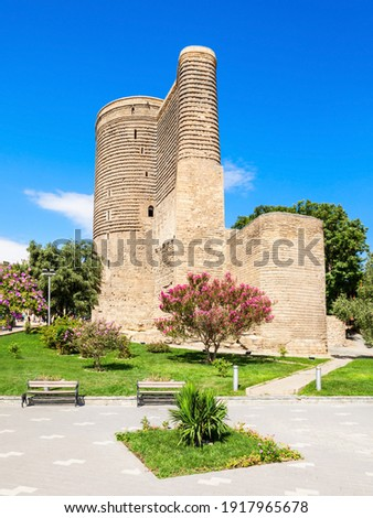 The Maiden Tower or Giz Galasi in the Old City in Baku, Azerbaijan. Maiden Tower was built in the 12-th century, as part of the walled city.