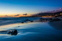 The Main Beach at sunset, in Laguna Beach, California.