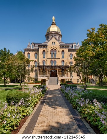 The Main Building on the campus of the University of Notre Dame in South Bend, Indiana