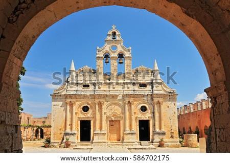The main church of Arkadi Monastery, symbol of the struggle of Cretans against the Ottoman Empire , Rethymno, Crete, Greece. #586702175
