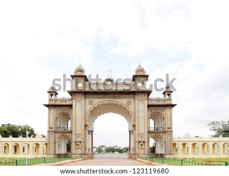 The main gate in the eastern side of the Mysore palace