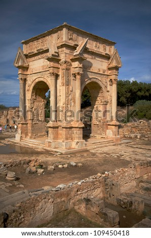 The main gate to the spectacular ruins of Leptis Magna near Al Khums, Libya