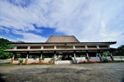 The main pavilion at Srivijaya Kingdom Archeological Park in Palembang, Indonesia.