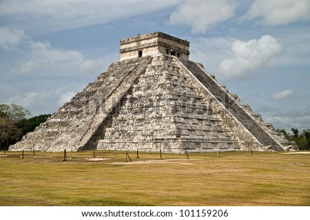 The main pyramid of Chichen Itza. During the equinox near sun set a shadow down the side of the pyramid steps ends in the snake head of Kukulkan at the bottom.