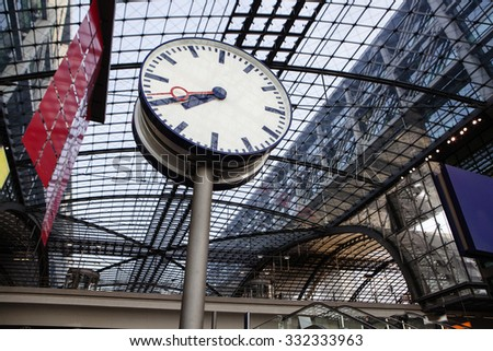 The main railway station (Hauptbahnhof) in town and the largest crossing station in Europe. Berlin, Germany