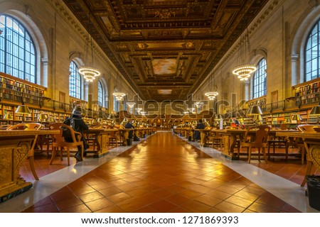 The main reading room of the New York Public Library