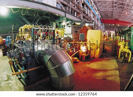 The main shop of manufacture of the electric power. Photo.