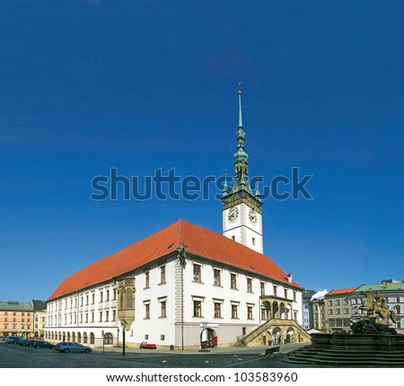 The main square and town hall in Olomouc, Moravia, Czech Republic