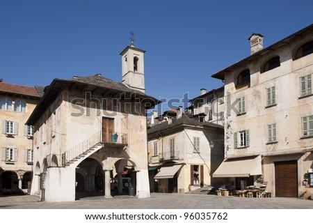 The main square in Orta San Giulio, italy