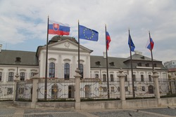 The main square outside the Parliament building in Bratislava, Slovakia. Flags of Slovakia, the European Union and European countries.