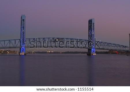 The Main Street Beach in Jacksonville Florida at dusk