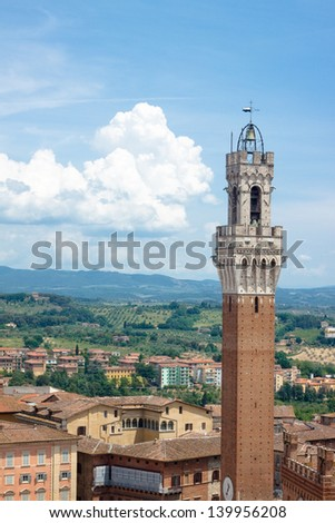 The main tower of Siena in summer day