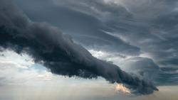 The majestic beautiful dramatic pre-threatening sky. Cloudy sky