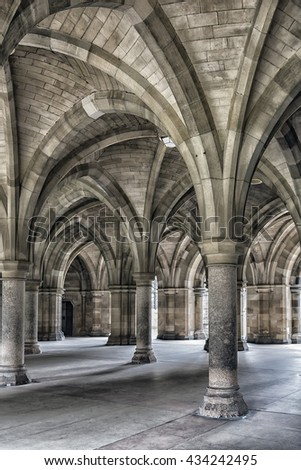 The majestic cloisters at Glasgow university in Scotland.
