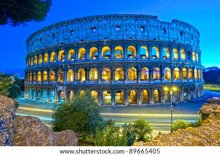 The Majestic Coliseum Amphitheater, Rome, Italy.
