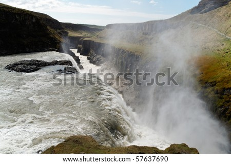 The majestic Gullfoss waterfall in Iceland