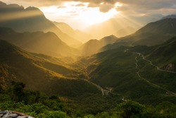 the majestic moutain ranges and long pass in vietnam with magical of the light and sky at sunset