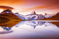 The majestic peaks of Schreckhorn and Wetterhorn. Location place Bachalpsee, Swiss alps, Switzerland, Grindelwald valley, Europe. Photo of popular tourist destination. Discover the beauty of earth.