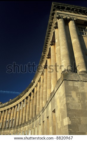The majestic Royal Crescent. Large crescent of houses made from honey colored bath stone. Bath, England