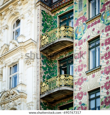 The Majolica House (Majolikahaus) with its floral ornamentation near Naschmarkt in Vienna (Austria); famous example of Jugendstil (art nouveau) buildt by Otto Wagner il 1899 Stock photo ©
