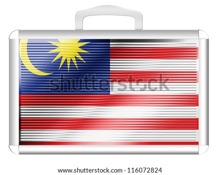 The Malaysia flag painted on  metal aluminum case