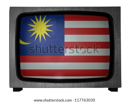 The Malaysia flag painted on  old TV