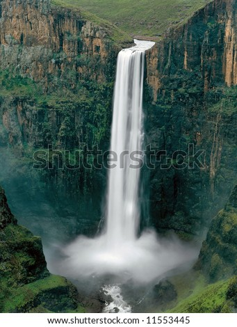 The Maletsunyane Falls in the central Lesotho highlands. - stock photo