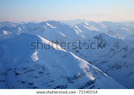 The Mamore mountains of Scotland in winter seen from Ben Nevis.