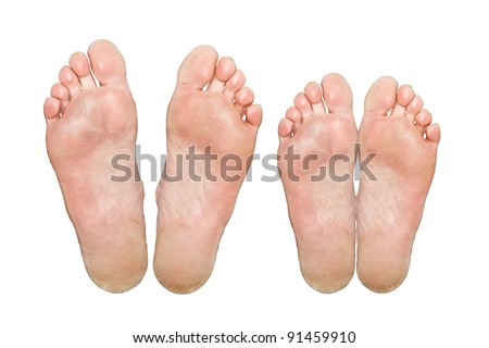 The man and woman. Caucasian feet. Isolated over white background - stock photo