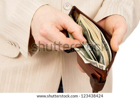 the man counted out the money wallet isolated on white background