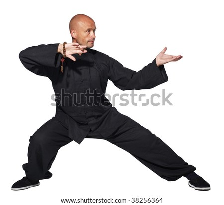 The man does an element tai-chi