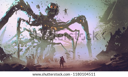 Stock Photo the man facing the giant spider robot, digital art style, illustration painting